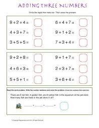 worksheet adding three numbers circle the digits that make ten
