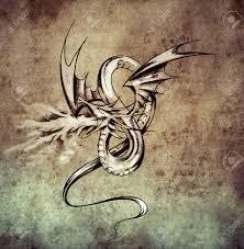 medieval dragon figure sketch of tattoo art on vintage paper