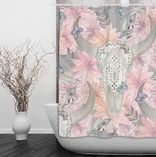 Pink Flower Shower Curtain Longhorn Skull Shower Curtain With Lace And Pink Flowers Ink And