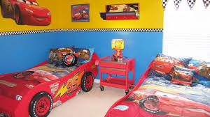 bedroom red wood disney car toddler bed with red wood end table
