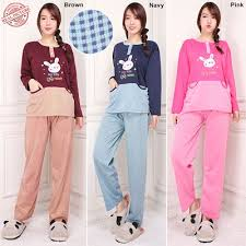 Baju Tidur qoo10 stelan baju tidur sela dan celana panjang jumbo wanita