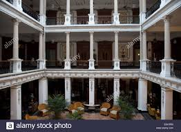 interior courtyard gran hotel merida yucatan mexico stock