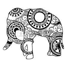 elephant with cloud and ornament royalty free cliparts