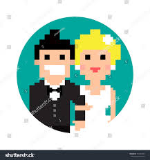 background pictures for newly wed halloween coiple pixel art wedding couple circle isolated stock vector 155724059