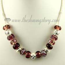 bead charm necklace images Silver charms necklaces with rhinestone murano glass beads wholesale jpg
