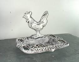 Black And White Rooster Decor Wrought Iron Rooster Etsy