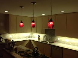 kitchen appealing red pendant lights and white recessed ceiling