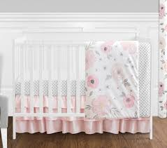 Baby Crib Bed Skirt 4 Pc Blush Pink Grey And White Watercolor Floral Baby Crib