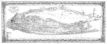 Sound Map 3 Panel Long Island Sound New York Antique Vintage Map Black And
