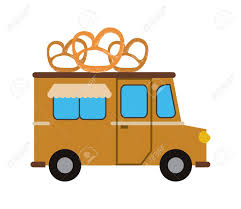 pretzel delivery pretzel truck delivery fast food business icon flat and