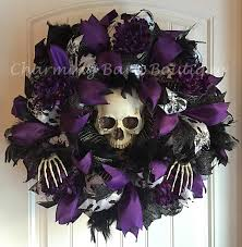 black feather wreath halloween halloween wreath skull wreath skeleton wreath light up