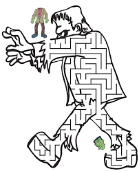 free halloween frankenstein maze printable coloring pages