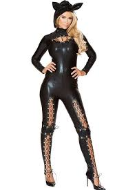 animal costumes black faux leather catsuit costume animal