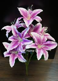 amazon com sweet home deco 22 u0027 u0027 silk stargazer lily artificial