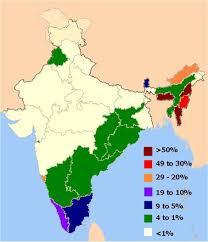 North India Map by Distribution Of Christians In Indian States U2022 Mapsof Net