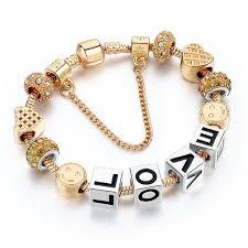 crystal heart charm bracelet images Love letters beads bracelets bangles gold crystal heart charm jpg