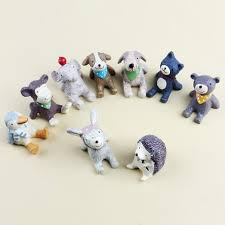looking up at the sky small animals resin miniature figurines home