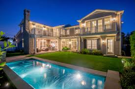 exterior of custom home located in brentwood ca on a corner lot