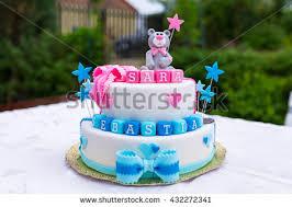 cake for birthday cake baby boy girl stock photo 432272341