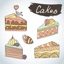 hand drawn sweet cakes set bakery vector elements sketch