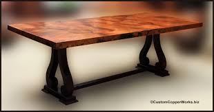 Wood Rectangle Dining Table Rectangle Copper Top Dining Table Copper Table Top Mounted On Oak