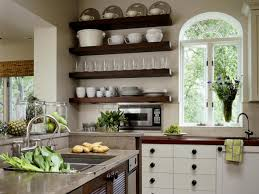 Kitchen Window Shelf Ideas Floating Shelves Used To Store Dishes And A Large Window With An