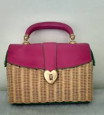 juicy couture euc pink rattan u0026 leather basket wicker handbag box