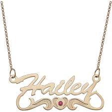 name plates necklaces gold personalized script name with birthstone heart 14kt gold