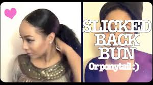 slick back weave hairstyles slick back pony tail hair style protective style youtube