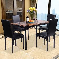 Dining Set With 4 Chairs Costway 5 Pc Dining Set Faux Marble Table And 4 Chairs Kitchen