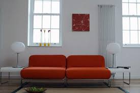 Rust Sofa Rust Color Sofa For Living Room With Wooden Windows And Lamp For