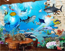 high quality ocean wall mural buy cheap ocean wall mural lots from 3d wallpaper custom photo mural oceanic sharks dolphins decoration painting 3d wall murals wallpaper for walls