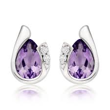18ct white gold diamond amethyst 9ct white gold diamond amethyst stud earrings 0008062