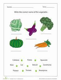 vegetables in spanish worksheet education com