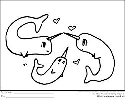 cute narwhal coloring pages throughout page eson me