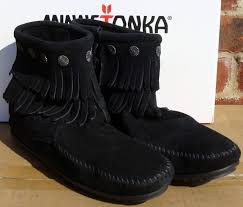 s zip boots minnetonka fringe side zip boot womens 699 black boots