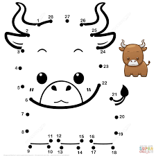 cute baby bull dot to dot free printable coloring pages