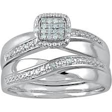 Wedding Rings At Walmart by Forever Bride Diamond Accent Sterling Silver Bridal Set Walmart Com
