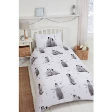 Brushed Cotton Duvet Covers Dancing Penguin Brushed Cotton Duvet Set Single Bedding B U0026m