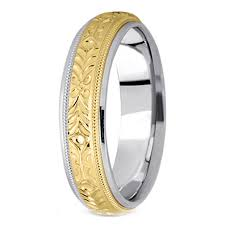 14k white gold mens wedding band two tone 14k white yellow gold 5 mm men s engraved milligrained
