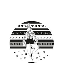 black and white fashion figures round coaster 9 cm sketch