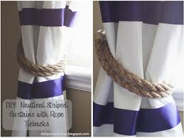 Nautical Striped Curtains Do It Yourself Divas Diy No Sew Striped Curtains With Tiebacks