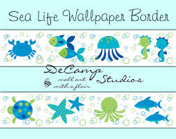 under the sea life wallpaper border wall decals for baby boy or