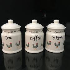 kitchen tea coffee sugar canisters set of 3 country kitchen ceramic storage jars tea coffee sugar