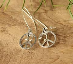 dangler earrings modern peace charm silver dangler earrings silver earrings online
