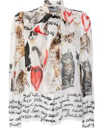 cat blouse amazing deal on dolce gabbana cat print blouse silk
