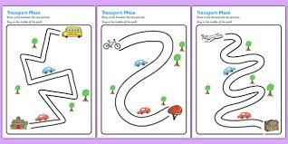 transport pencil control path activity sheets transport
