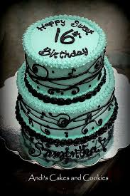 sweet 16 birthday cake decorated in tiffany blue and black