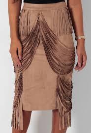 tan brown suede effect fringe detail skirt pink boutique