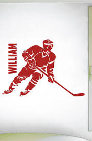 695 best sport wall decals images on pinterest swim quotes custom boys name hockey decal 0288 personalized boys hockey wall decal hockey theme